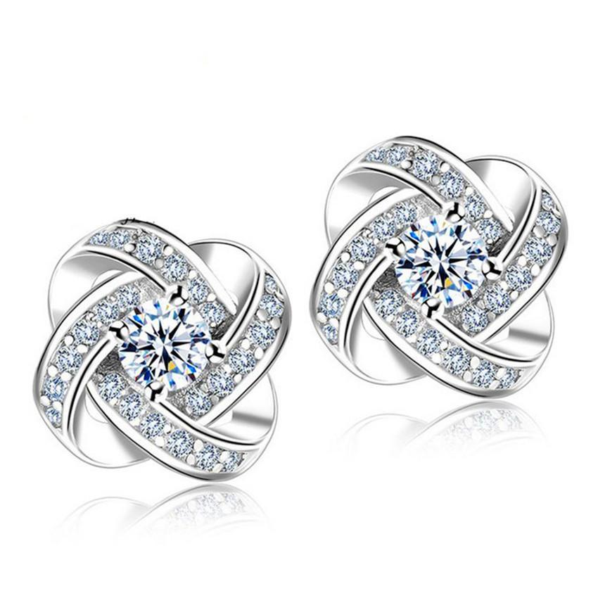 Candy Online 925 Silver Zircon Eternal Star Stud Earrings Jewelry ED105