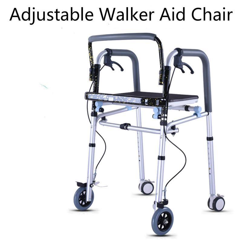 The Aged Old Person Walker Aid With Wheel Seat Chair Base Plate handicapped person Rehabilitation Wheelchair With Brake