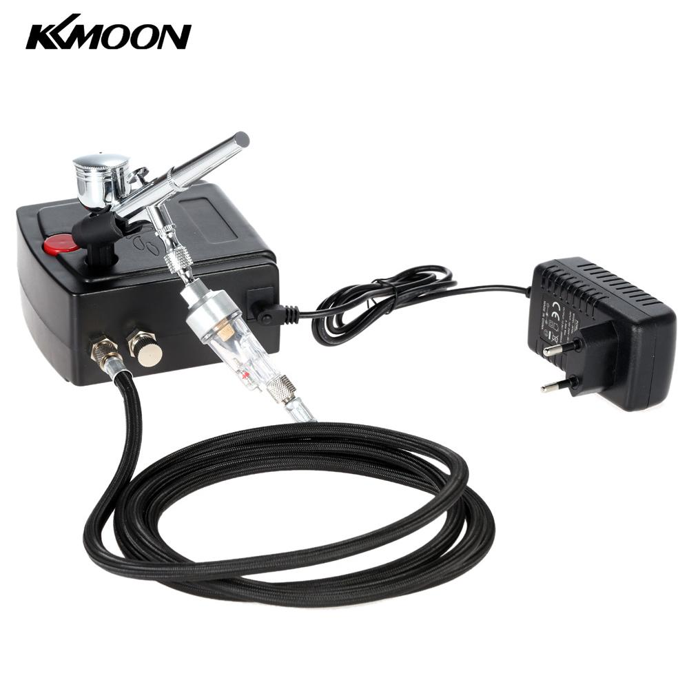 KKmoon 100-240V Professional Gravity Feed Dual Action Airbrush Air Compressor Kit for Art Painting Manicure Craft Cake Spray Model Air Brush Nail Tool Set