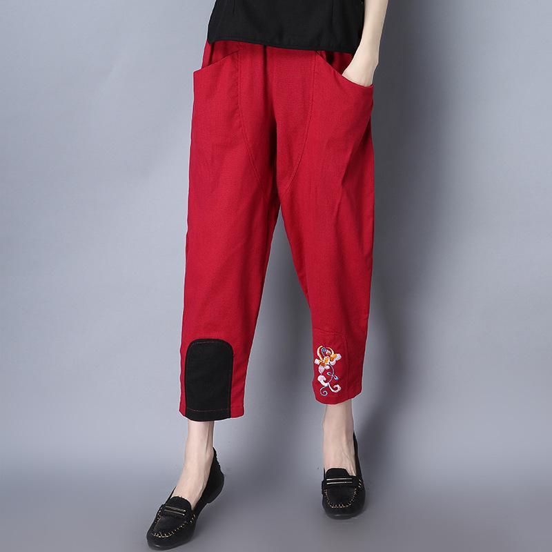 Longgar Kapas dan Harem Linen Celana Lobak Gantung File Sembilan Celana Emblem Bordir Celana EJ276-Intl