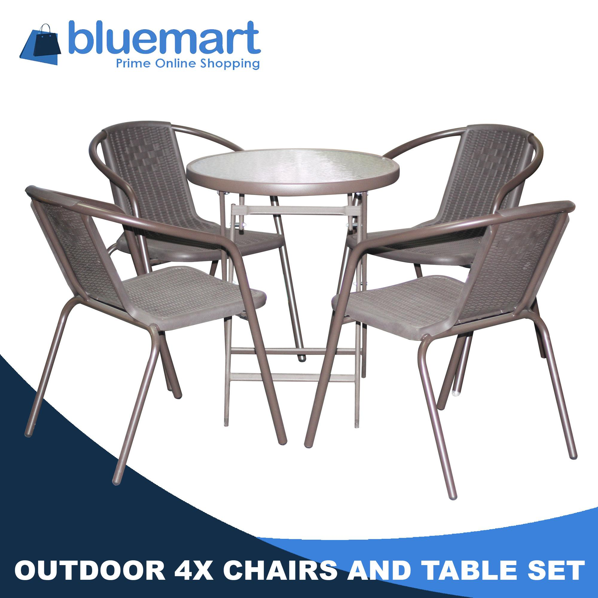 Outdoor Table With 4 Chair Set (Circle Table)