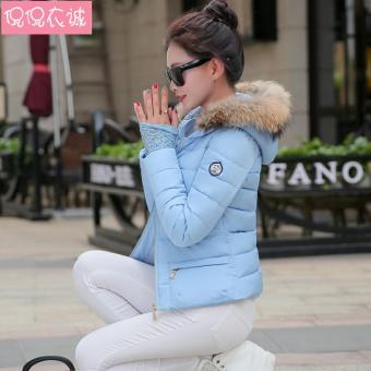 Beli sekarang 2018 pakaian musim dingin model baru baju katun pakaian katun  jaket wanita membentuk tubuh model pendek pakaian katun rakun kerah bulu  Small ... 84113e2480