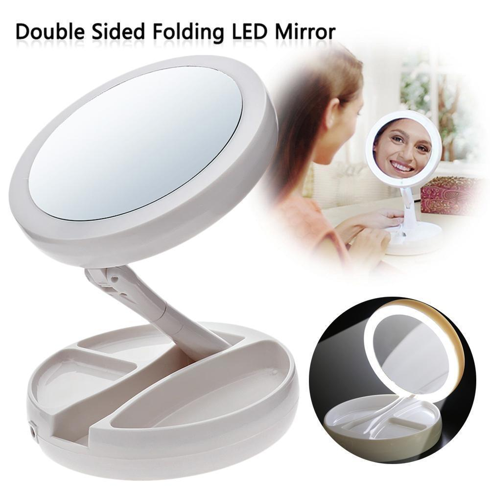 My Fold Away LED Makeup Mirror Folding USB Lighted Vanity Mirror Double-sided Rotation Touch Screen Portable Tabletop Lamp Adjustable Mirror Philippines