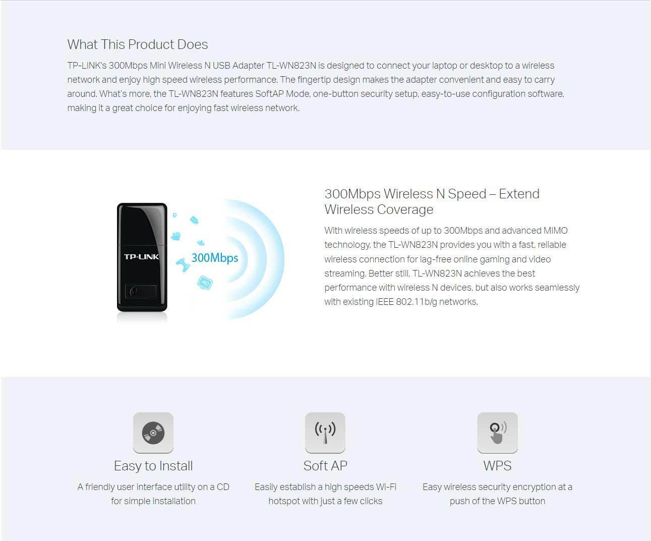 Tp Link Tl Wn823n 300mbps Mini Wireless N Usb Adapter Lazada Ph Wn821n Specifications Of