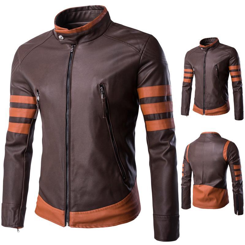 Katun Laki-laki Musim Gugur dan Musim Dingin Baru Wolverine Jaket Kulit Sepeda Motor Kulit Pakaian Ukuran Kode