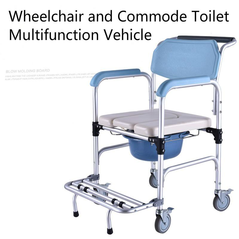 Multifunction Toilet Seat Old Man Wheelchair Aluminum Alloy Mobile Toilet Chair Maternity Chair Commode Seat Chair For Disabled and Handicapped