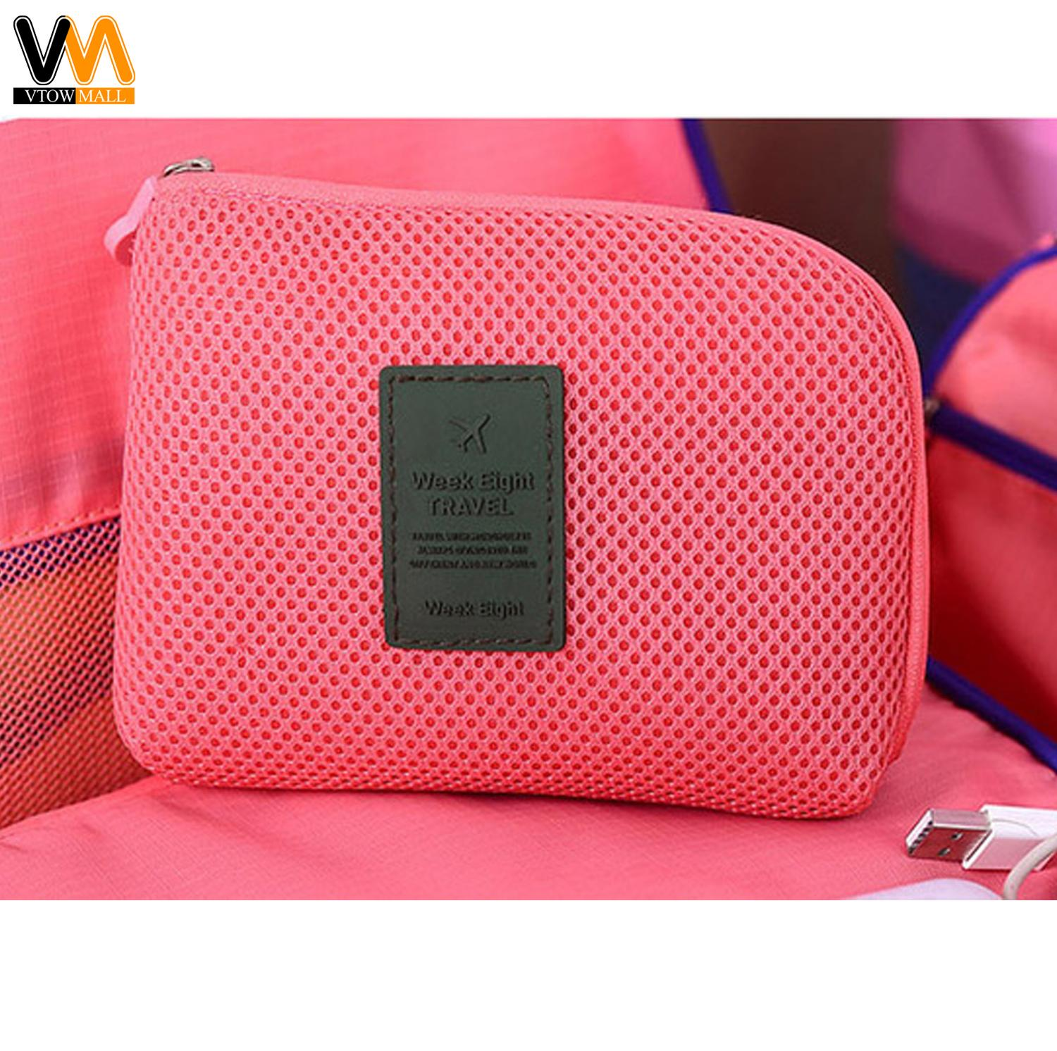 7db4b1cb86 Travel Gadget Organizer Cable cord Charger Pouch (Pink)
