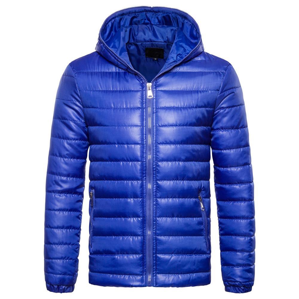 OEM Kita Hangat Pria Hoodie Empuk Jaket Bulu Angsa Musim Dingin Jaket Bertudung Mantel (Biru)