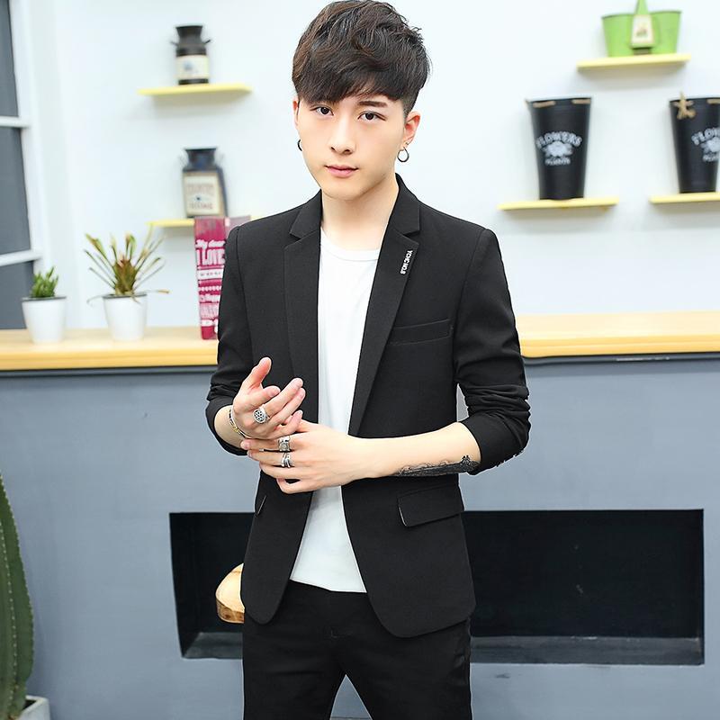 Model baru model musim gugur pakaian pria setelan jas tunggal Jaket Gaya Korea membentuk tubuh Setelan