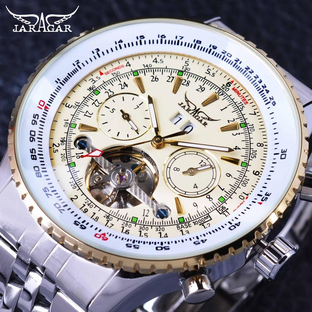 Jaragar GMT976-3 Aviator Series Military Scale Yellow Elegant Dial Tourbillon Design Mens Watches Top Brand Luxury Automatic Wrist Watch Malaysia
