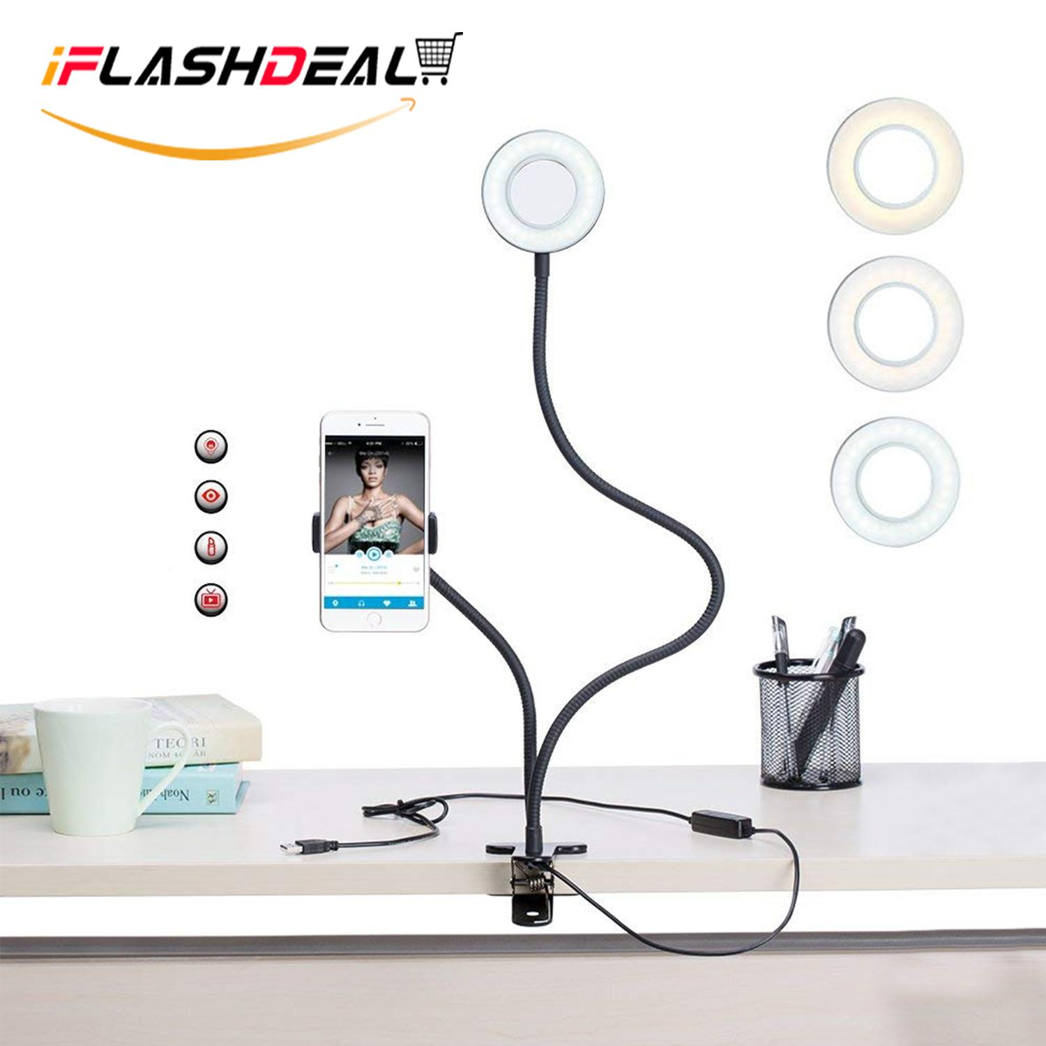 Iflashdeal Lampu Flash Handphone Selfie Ring Light Phone Camera Flash Lights Cell Phone Holder Stand Led Camera Light Lazy Bracket Mobile Phone Clipper Led Desk Lamp Bedroom, Office, Kitchen, Bathroom By Iflashdeal.