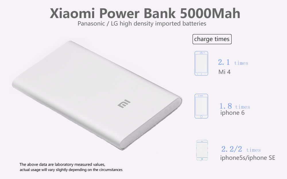 Specifications of Xiaomi Mi 5000mah Ultra Thin Power Bank (Silver)