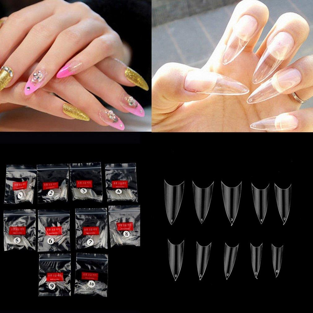 500Pcs Transparent Stiletto Point French Acrylic UV Gel False Nail Tips Philippines