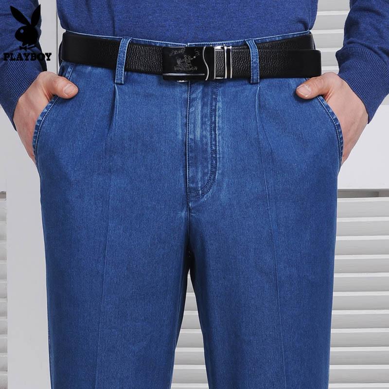 PLAYBOY celana jeans Pria longgar elastisitas Highwaist musim panas model tipis ukuran besar ukuran besar orang usia stengah Baya dan usia tua pakaian ayah