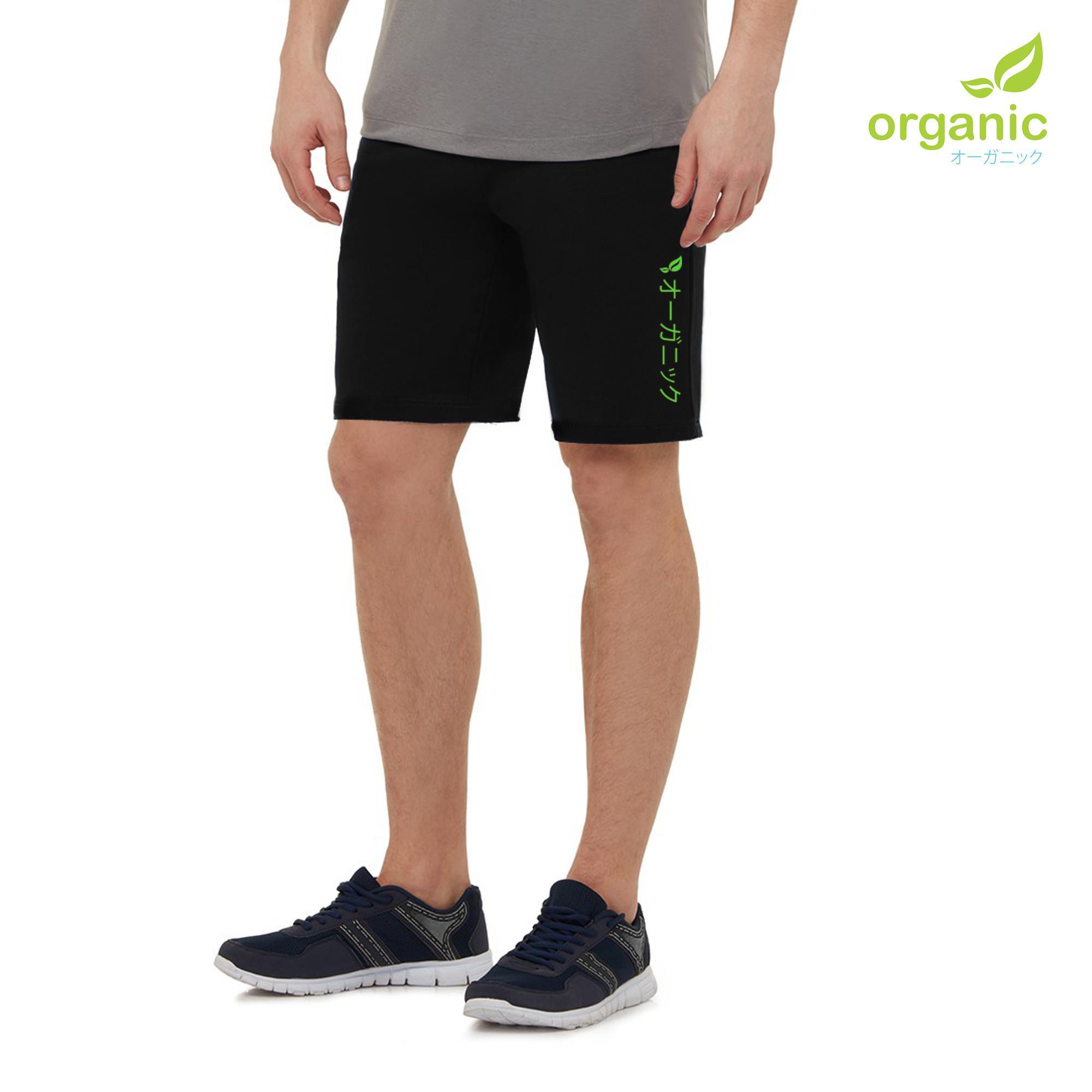 Organic Mens Short Black Sweat Jogger Training Gym Running Shorts For Men