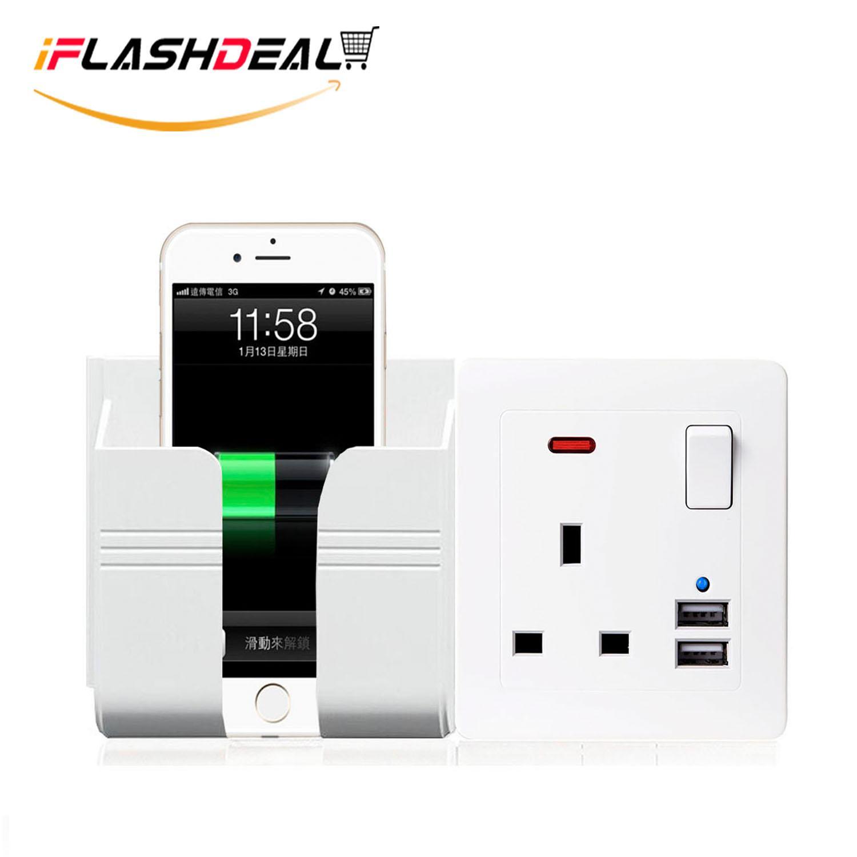iFlashDeal Stop Kontak Rachets USB Wall Socket Plug Socket with 2 x USB Charger Ports with