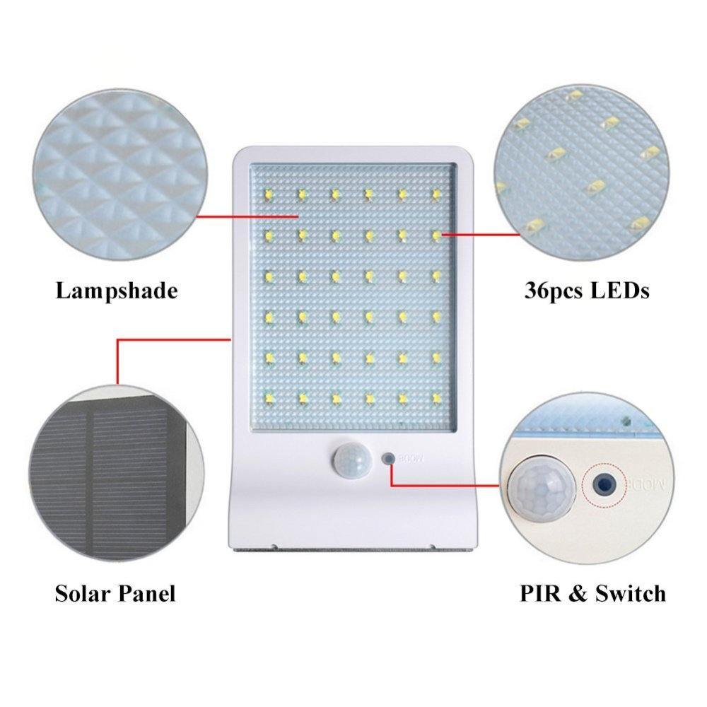 2Pack 36LED Solar Motion Sensor Lights Outdoor, WSMY Solar Activated ...