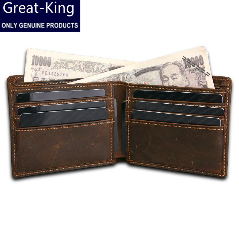 Great-King Luxury Brand Cow Genuine Leather Men Wallets 100% Top Quality Short Male