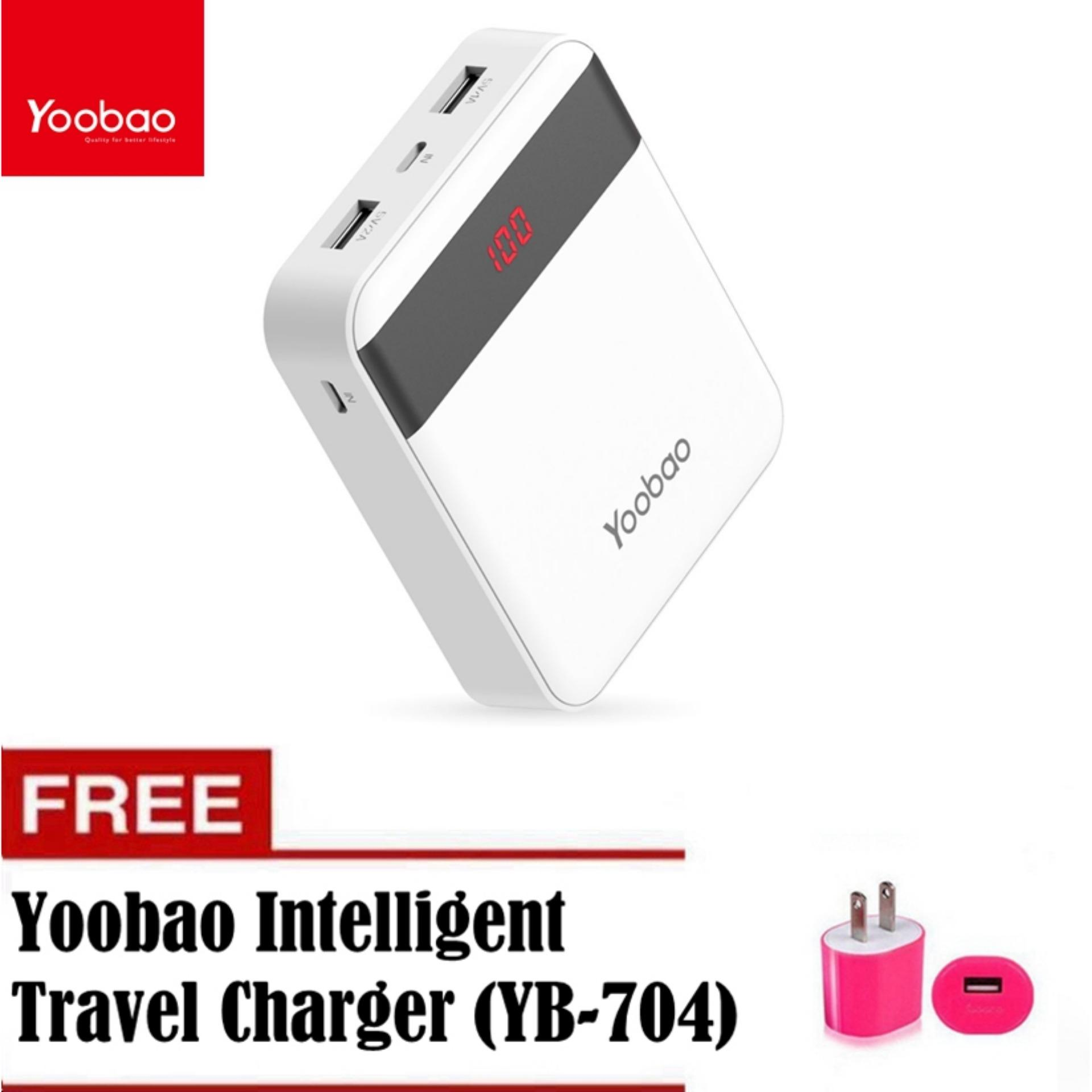 Yoobao M4Pro mAh LED Dual Output Power Bank White with Free YB 704