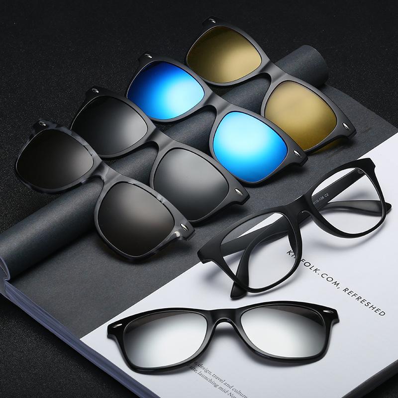 Terpolarisasi kacamata cermin klip magnetik Baru miopia frame retro laki-laki wanita cermin kacamata grosir