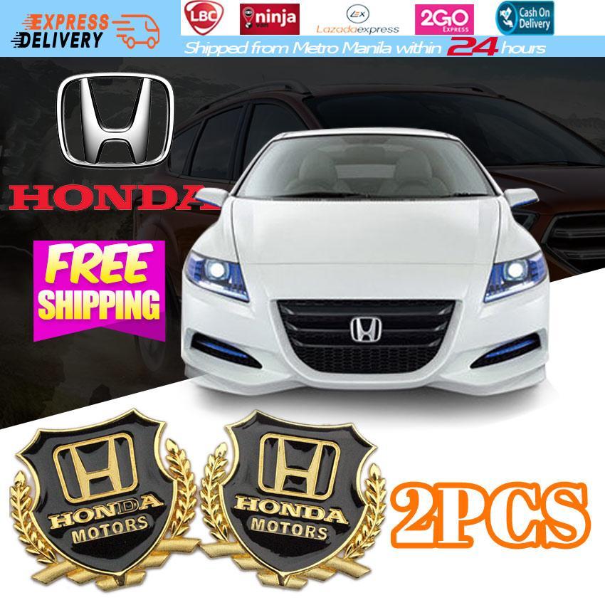 2PCS 3D HONDA MOTORS Emblem Wheat Car Sticker Side Decal Fit For VW Golf etc Universal