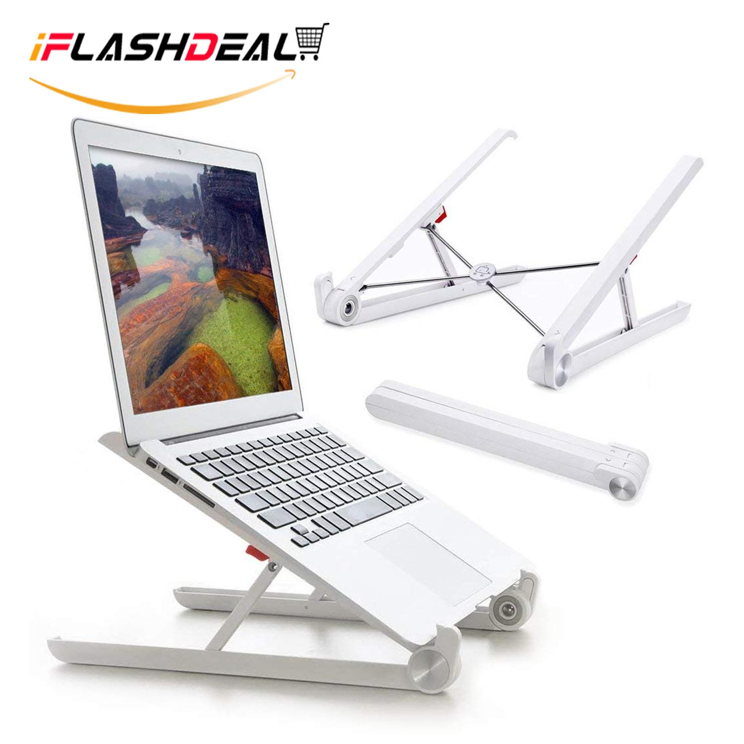 iFlashDeal Laptop Stand, Laptop Portabel Berdiri Lipat Desktop Notebook Dudukan Yang Dapat Disesuaikan Eye-Level Desain Ergonomis, laptop Portabel Riser untuk Macbook, Notebook Komputer PC Ipad Tablet