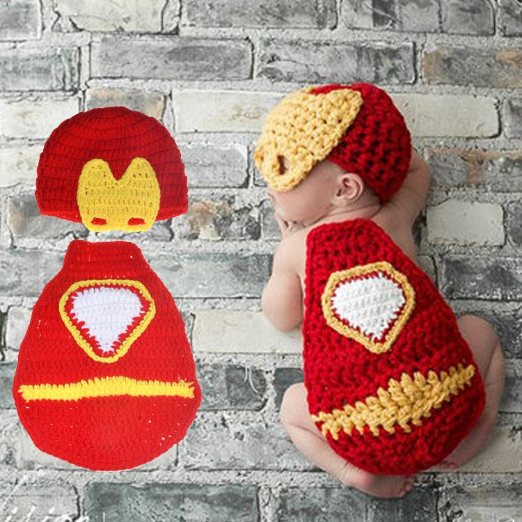 e873d9836ba70c Product details of Knitted Baby Boy Super Hero Costume Photography Prop  child Accessories hat Crochet Iron Man Newborn infant Photo Props Halloween  - intl