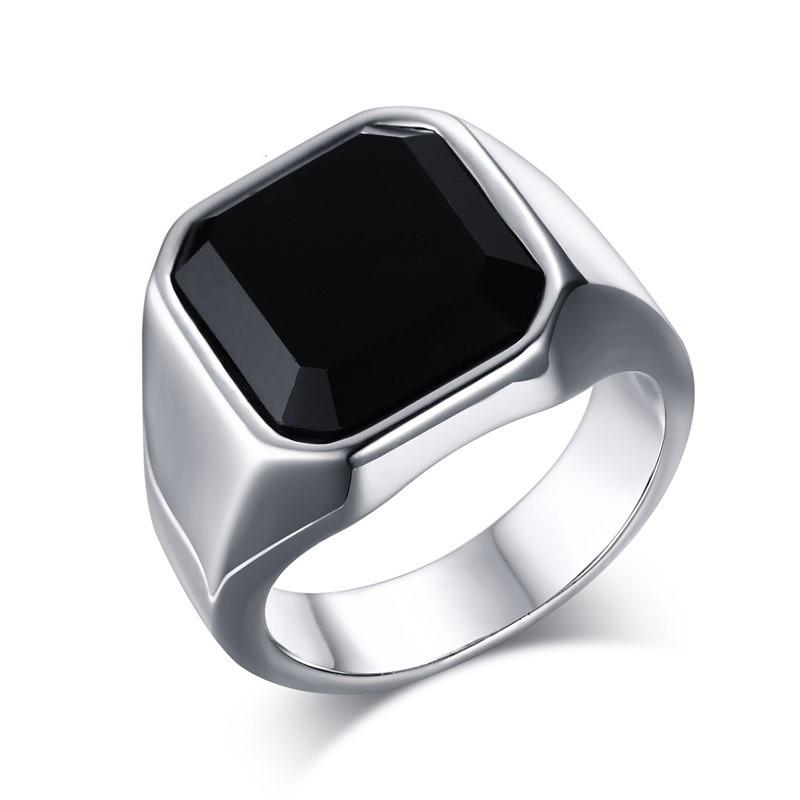 Fashion Agate Male Rings Jewelry Men's Stainless Steel Wide Identify Ring Black Color Square Stone Finger Band
