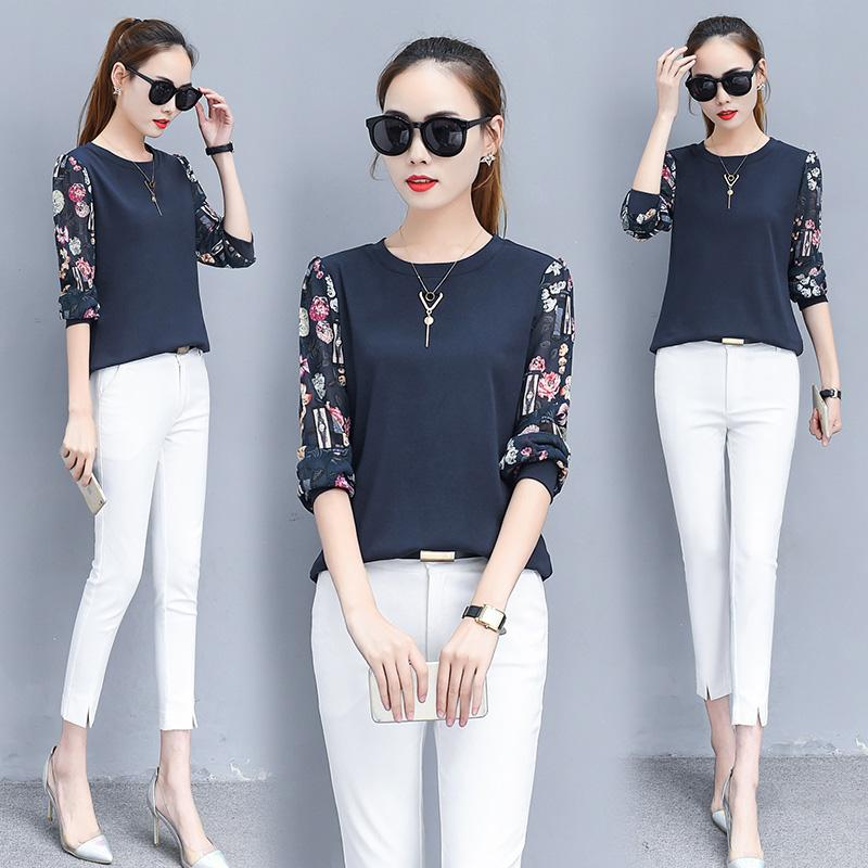 55bebc04af76 2018 New Style Middle-aged All-cotton T-shirt Base Shirt Female Young
