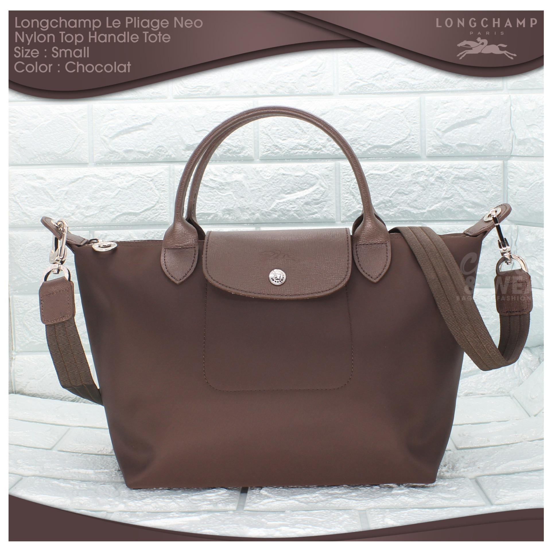 Authentic Longchamp Made In France Le Pliage Neo Small Top Handle Tote -  Chocolat