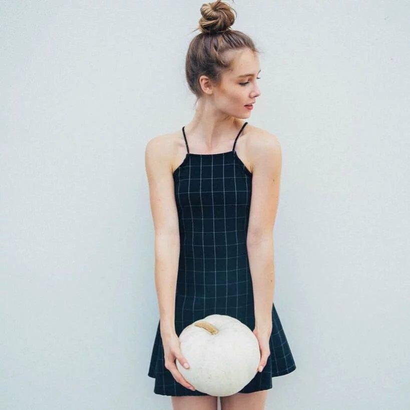 dafab21de55 Women s Black Lattice Vintage Style A-line Slip Dress