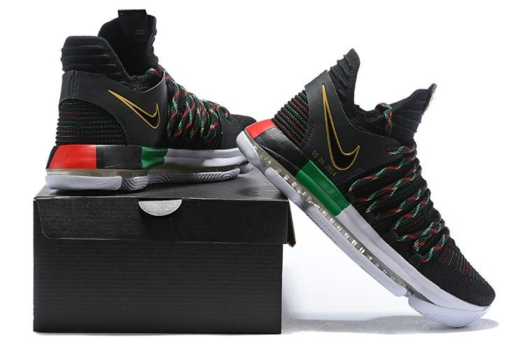 first rate abaf2 fc67f Dependable Nike Zoom KD 10 LMTD EP BHM Black Gold Multi-Color NBA MVP Kevin
