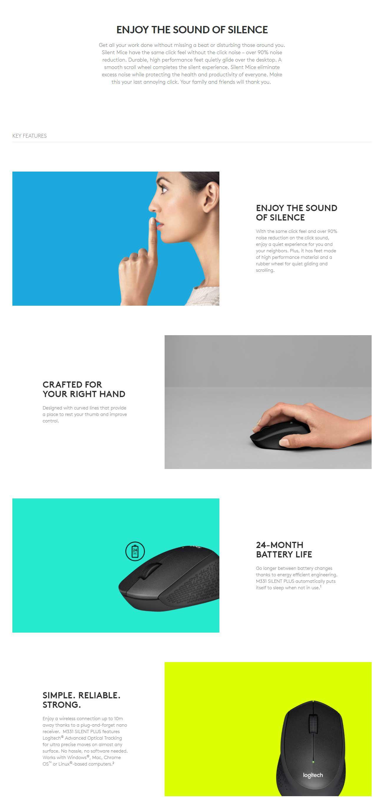 Logitech Wireless Mouse M331 Silent Plus Original Black Referensi Garansi Resmi Specifications Of