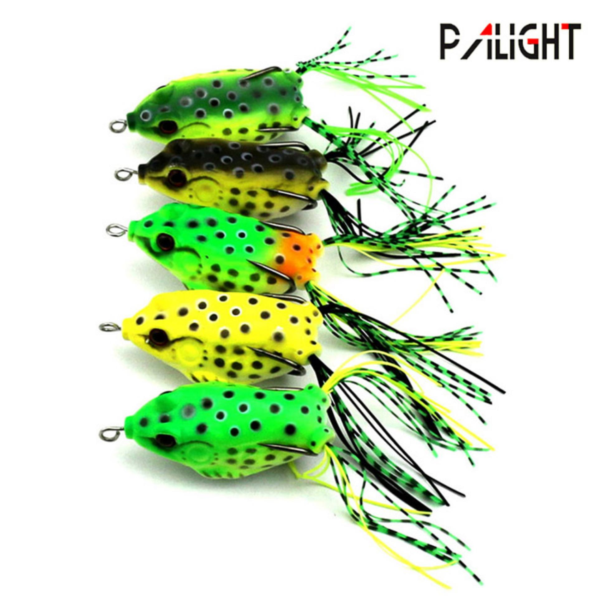 PAlight 5Pcs Soft Plastic Fishing lures Frog lure With Hook Top Water 6.5CM 13G Artificial