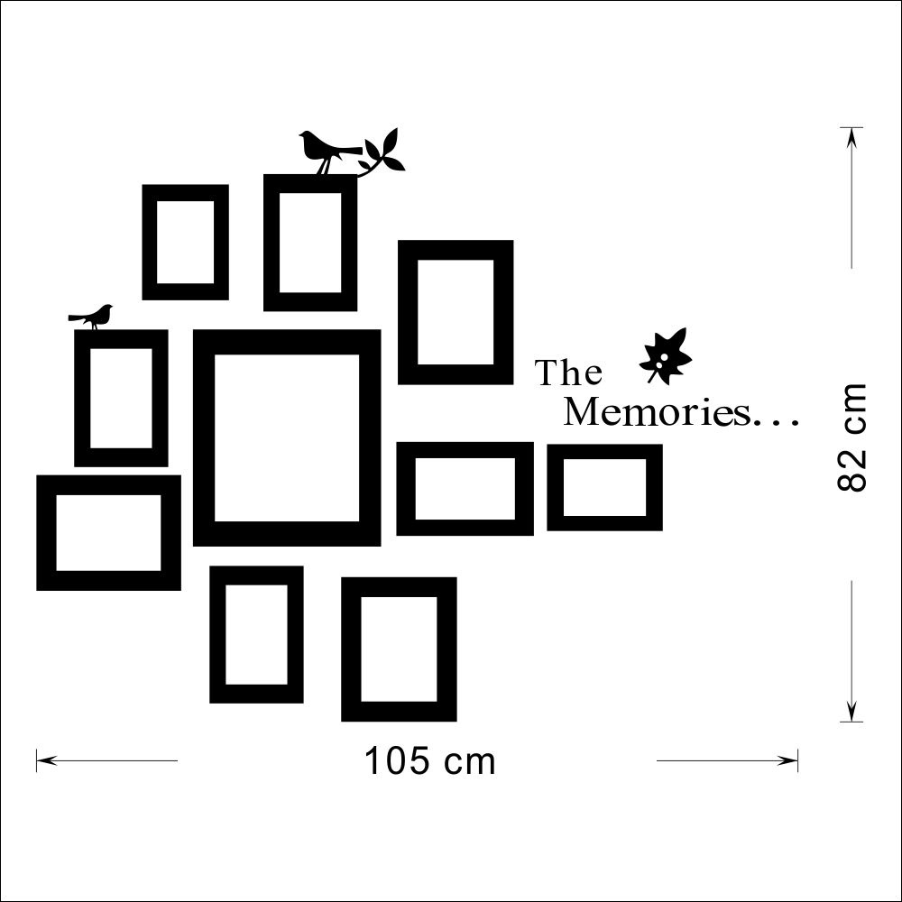 10x Picture Photo Frame Set Wall Mural Black Wedding Frames Sticker ...