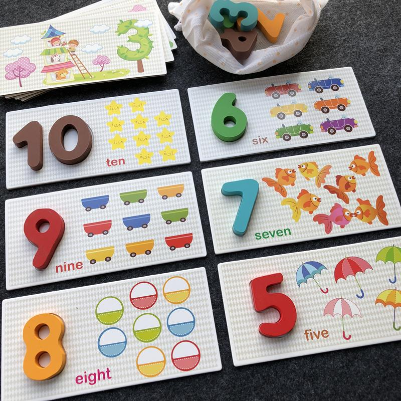 1234-Year-Old Baby Early Childhood Animal Cognitive Lettered With Numbers Card Tear Not Bad Wood Educational Children Jigsaw Puzzle By Taobao Collection.
