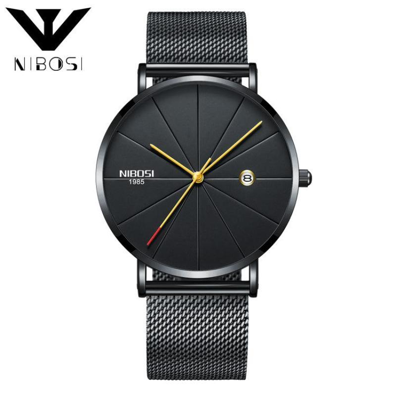 NIBOSI 2321 Luxury Fashion Ultra Thin Milanese Mesh Band Unisex Quartz Wristwatches (Black Band-Gold) Malaysia