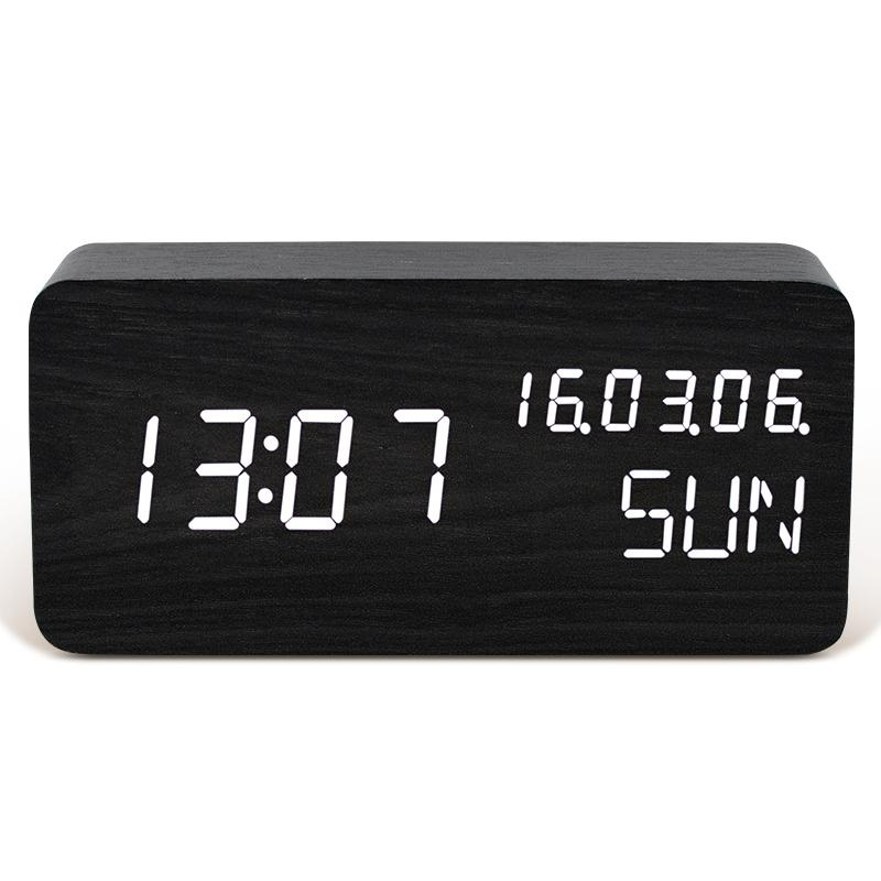 TXL Wooden Digital LED Alarm Clock with Time,Week,Temperature,Clander  Display, Acoustic/Touch Control, USB/Battery Powered,Desktop Table  Clock(Black,