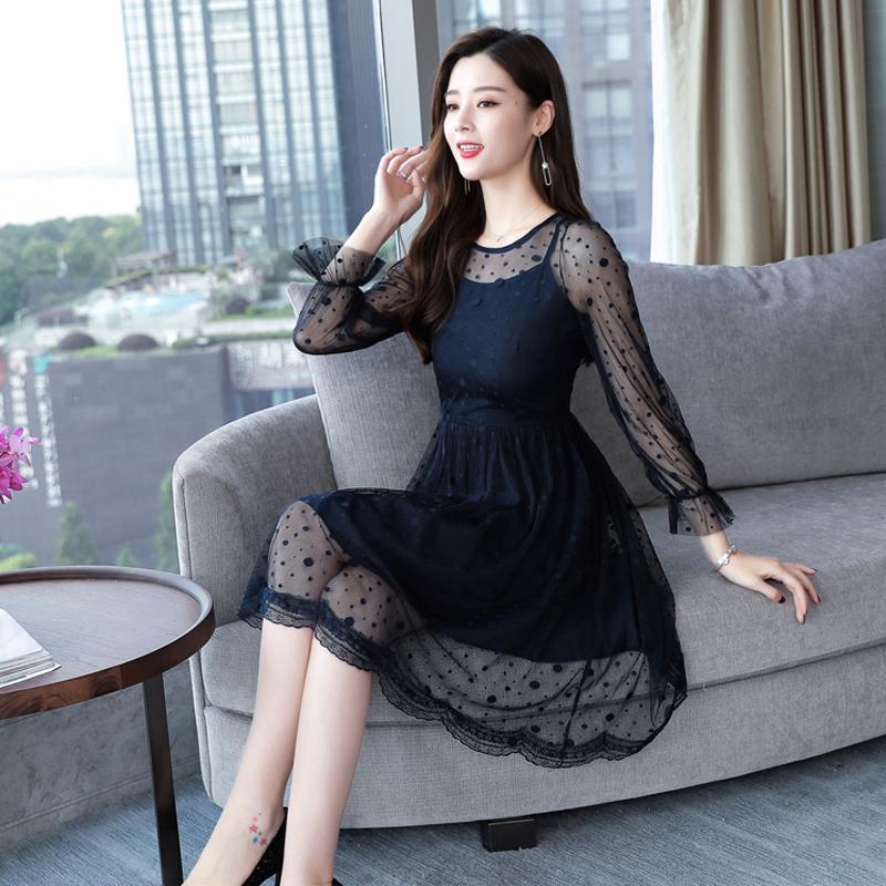 2020 Mùa Thu Mẫu Mới Phiên Bản Hàn Quốc Quần Áo Nữ Váy Khí Chất Ôm Body Dài Tay Váy Lót Nữ Kiểu Lửng Ren Đầm