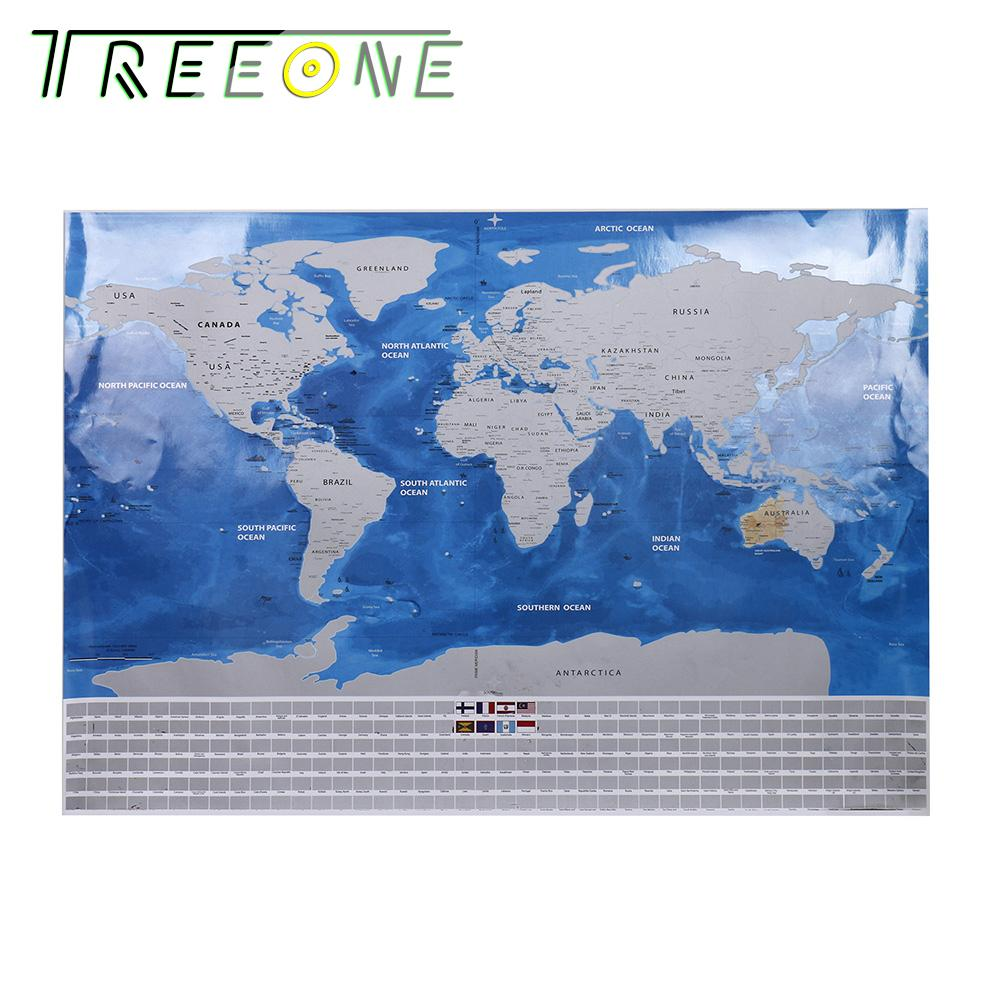 29.9 X 18.8 Inches Track Your Adventures Scratch Off World Map Poster For Travelers Wall Sticker
