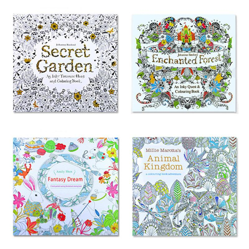 4Pcs Secret Garden Coloring Painting Book For Kids Adult Relieve Stress Drawing 24 Page