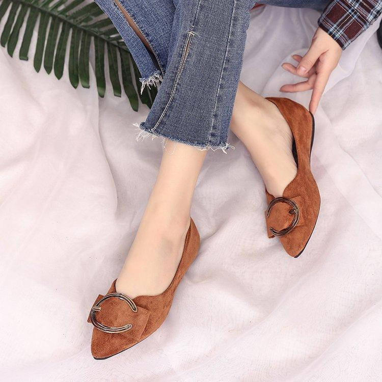 Fashion Pointed Sepatu bertumit tinggi Blok Heels Pointed Toe Suede .
