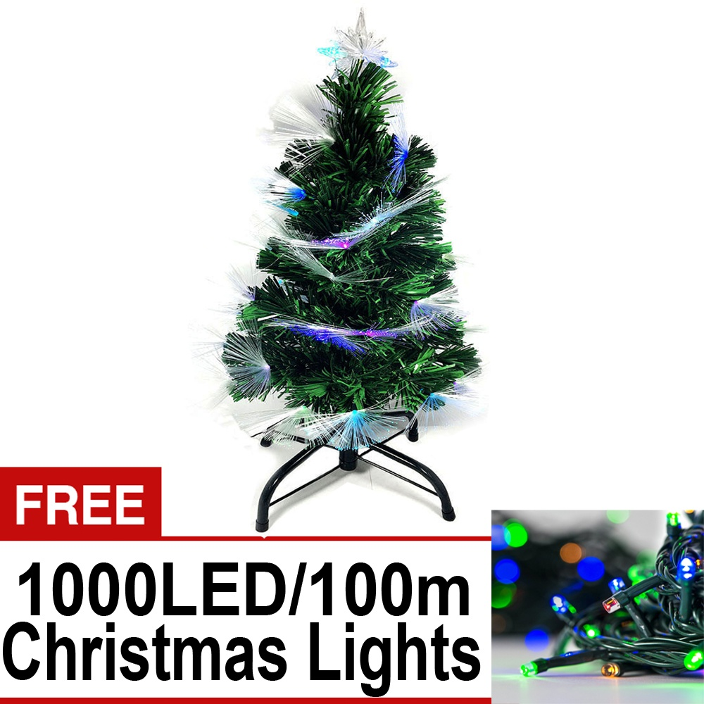 Artificial Christmas Tree W Built In Multicolored Lights On Tip 6ft 180cm W Free 1000 Led 100m Green Wire String Lights W 8 Functions Multi