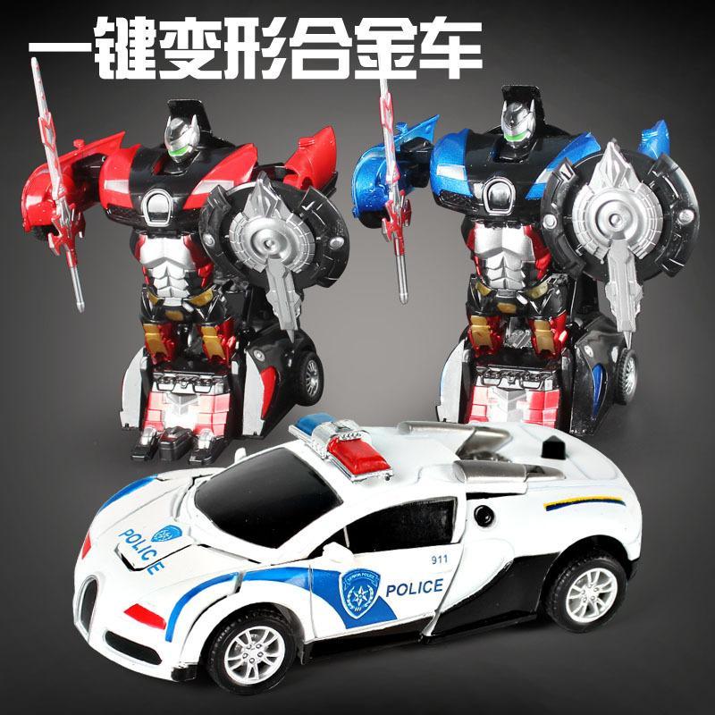 Sebuah paduan deformasi mobil man boy mainan model transformer keren menarik kembali mobil mainan hadiah ulang