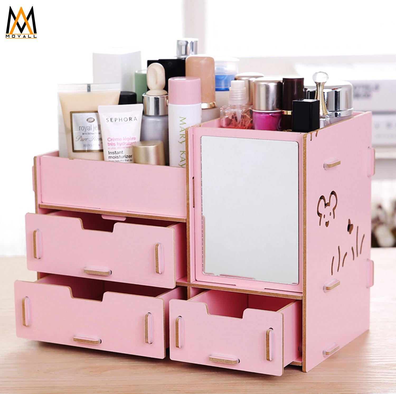 DIY Wooden Makeup make up Organizer with Mirror (Blush Pink) Philippines