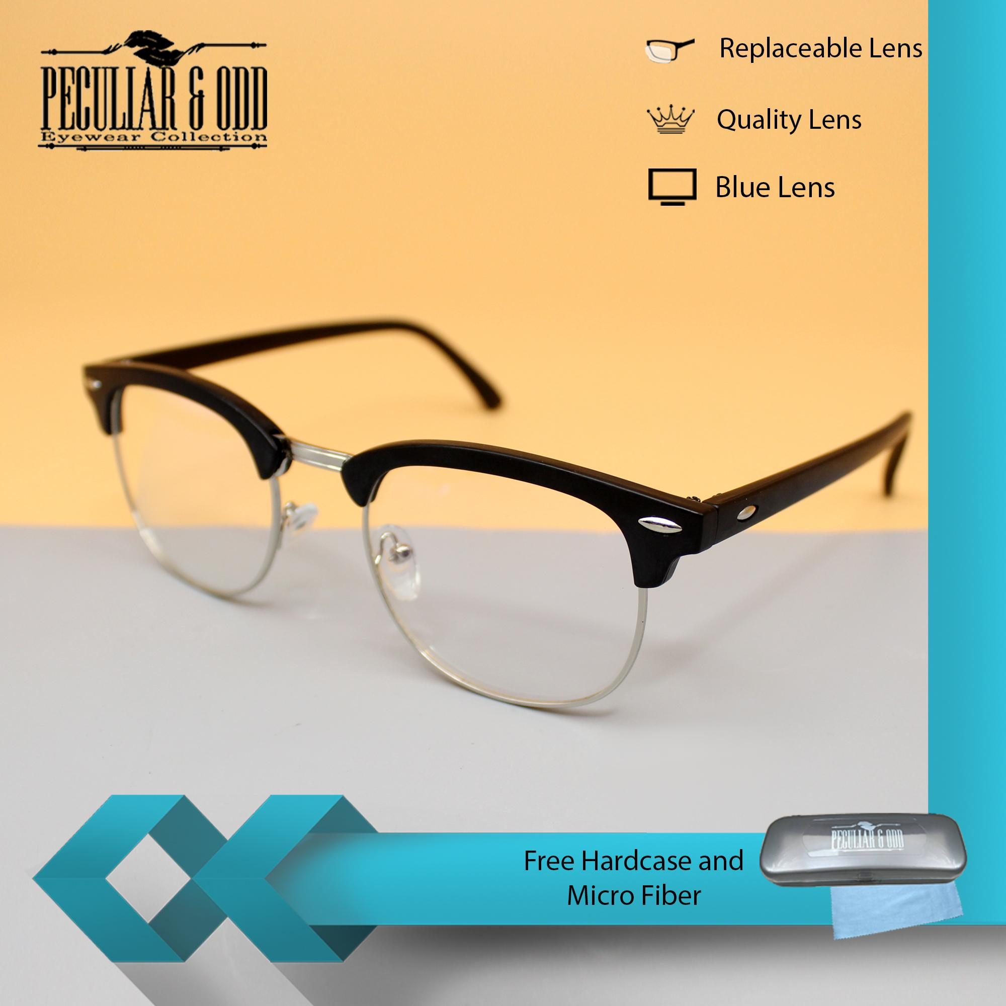 Clubmaster Classic Eyeglass 1365_BlackSilver Unisex Computer Eyeglasses  Anti Radiation Replaceable Lens Optical Frame Blue lens_NEW
