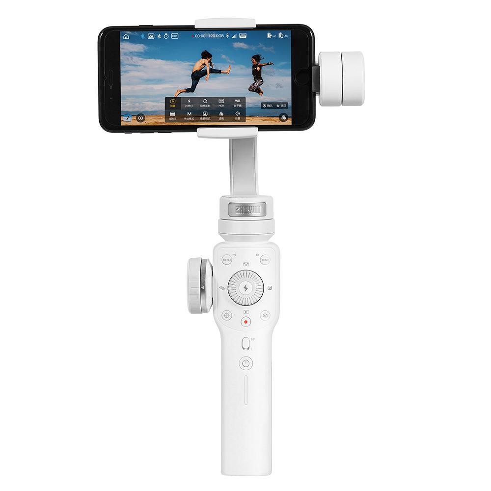 Zhiyun Halus 4 3-Axis Handheld Stabilizer Gimbal dengan Fokus Tarik & Kemampuan Zoom untuk Smartphone Seperti iPhone X 8 plus 7 6 SE Samsung Galaxy S9 + S9 S8 + S8 S7 S6 Q2 Tepi Halus Baru-Q/ III 2018 Putih