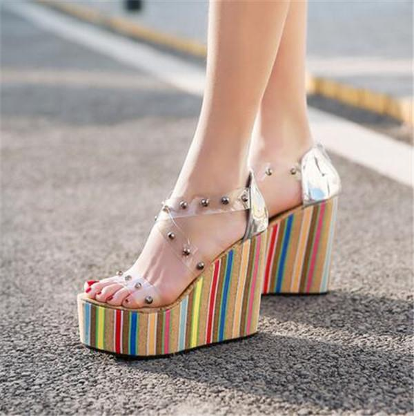05e692587f65 PXELENA Transparent Rivet Corss Strappy Sandals Women Thick Platform Wedge  High Heels Sandals Punk Rock Gothic