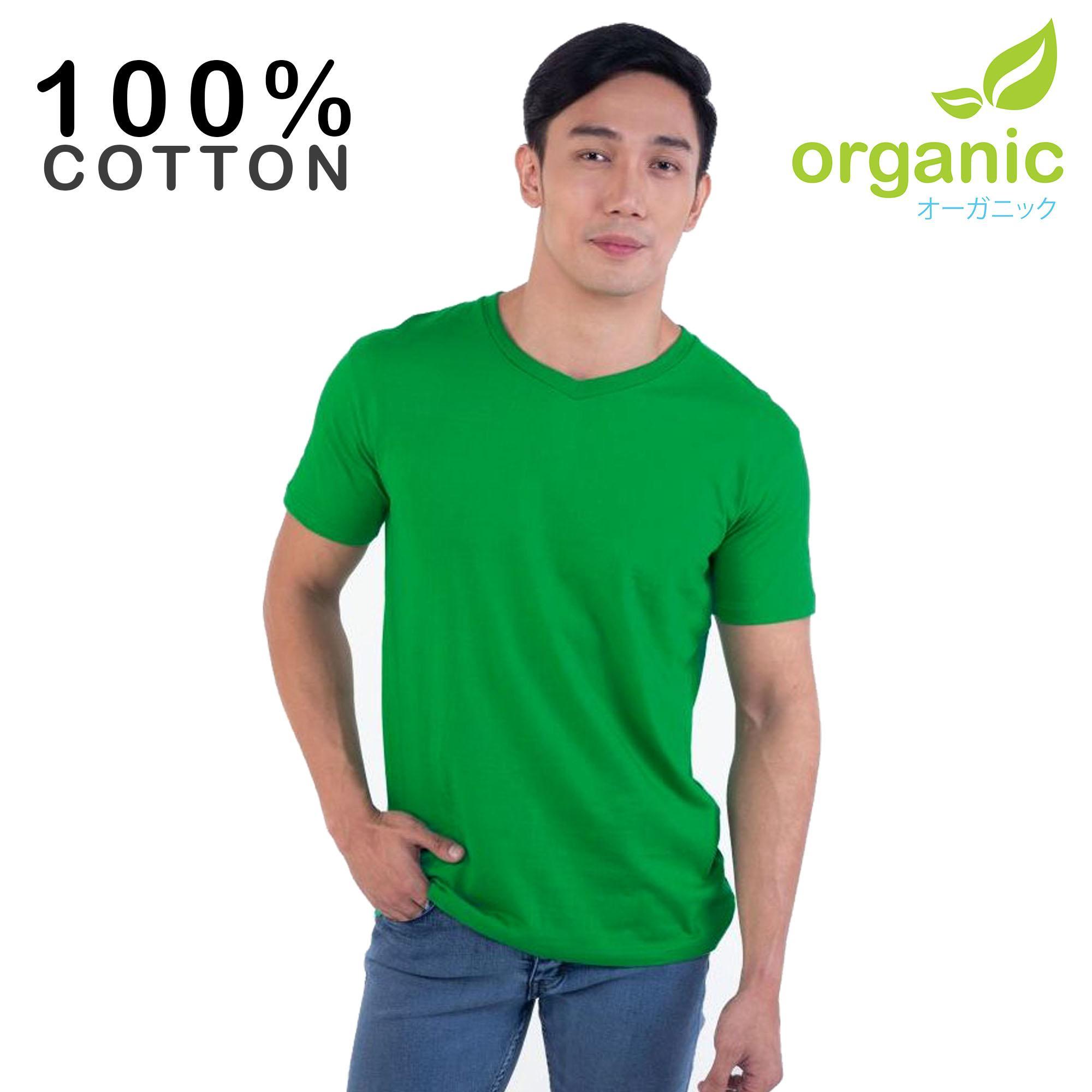 Organic Mens 100% Cotton Vneck (Green) Tees t shirt tshirt shirts tshirts v