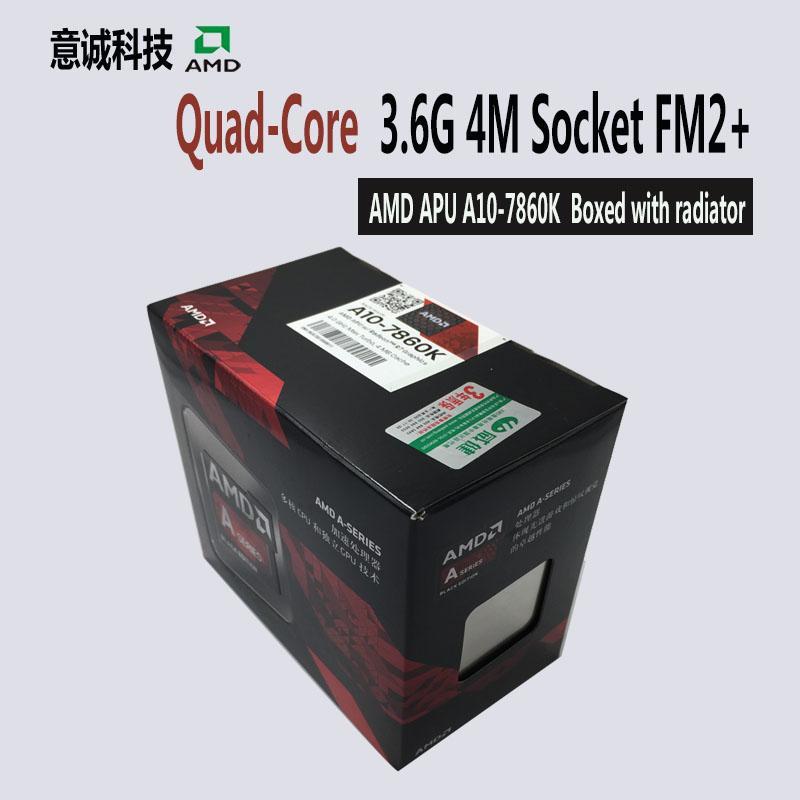 APU AMD A10 7860 K Prosesor CPU Kotak dengan Radiator Quad Core 3.6 GHz 4 MB Socket FM2 + Cache dengan Radeon r7 Desktop Baru